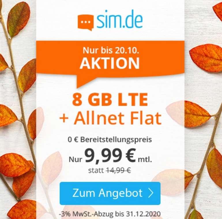 Sim.de o2 Allnet-Flat mit 8GB LTE Datenvolumen (bis zu 50 Mbit/s) für 9,99€ mtl. (ohne Vertragslaufzeit)
