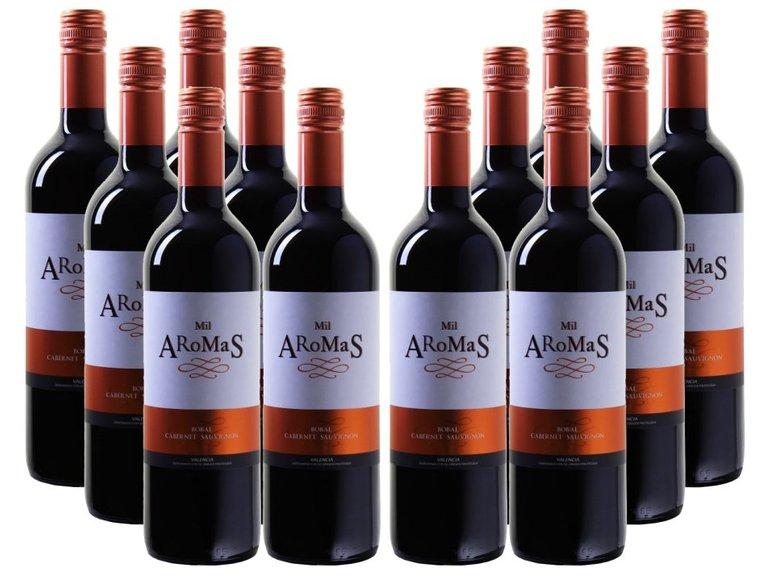 12er Wein Paket: Mil Aromas - Bobal-Cabernet Sauvignon - Valencia DO für 34,92€