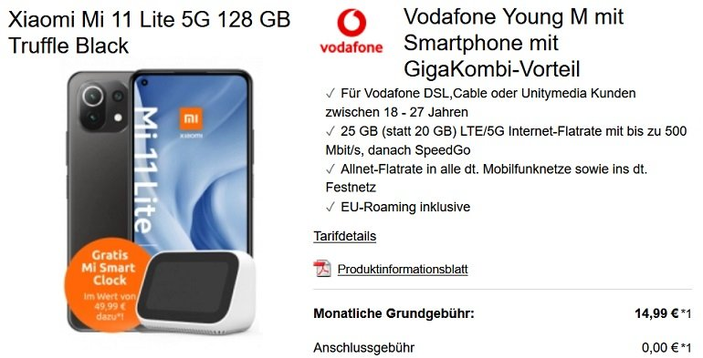 Xiaomi Mi 11 Lite 5G Mi Smart Clock 2 Vodafone Allnet-Flat 25GB LTE