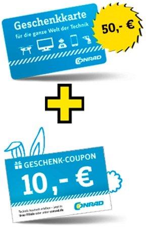50€ Conrad Geschenkarte kaufen und 10€ Coupon extra bekommen - max 3x möglich!
