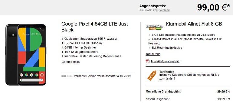 Vodafone Klarmobil Allnet Flat mit 8GB LTE + Google Pixel 4