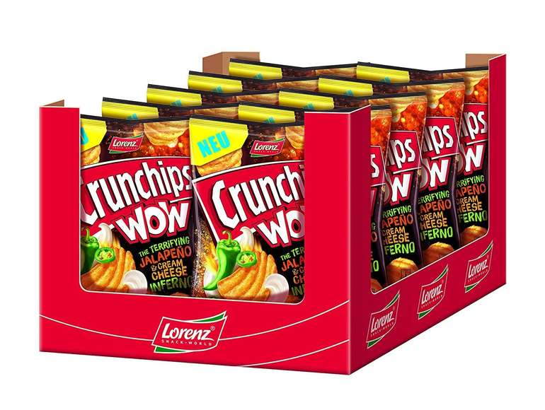 Prime Days: Lorenz Snack World Crunchips WOW Jalapeño & Cream Cheese (10 x 110 g) für 8,99€ inkl. Prime Versand