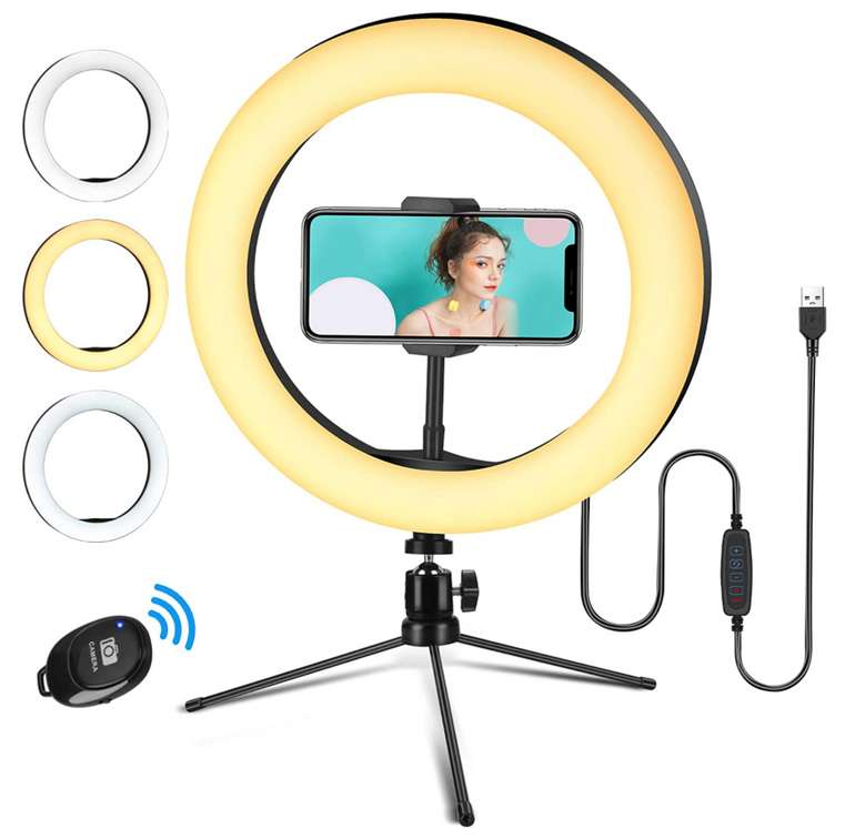 Linkax 10 Zoll Ringlicht Selfie Ringleuchte mit Stativ für 8€ inkl. Prime Versand (statt 17€)