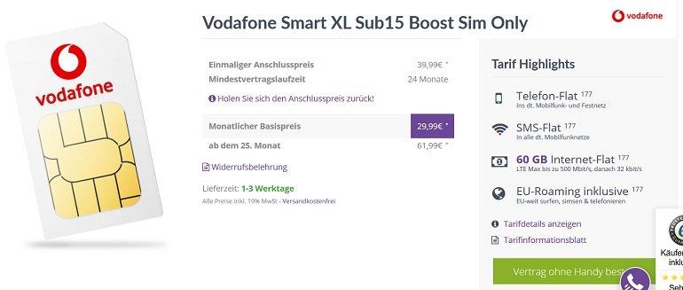 Vodafone Smart XL mit 60GB LTE + Allnet- und SMS Flat 2