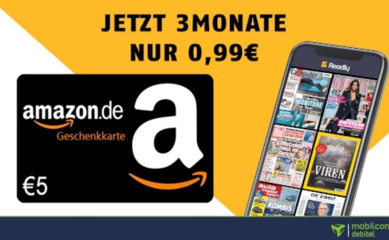 3 Monate Readly Magazin-Flat für einmalig 0,99€ + 5€ Amazon Gutschein (statt 29,97€)