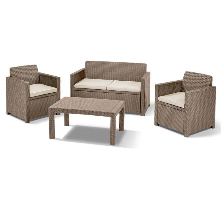 Allibert Lounge Set Merano Rattan 4-teilig mit Auflage für 167€ (statt 199€)