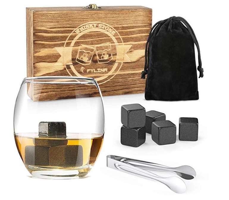 Fylina Whisky Steine Set - 12 wiederverwendbare Kühlwürfel mit Holzbox, Edelstahlzange und Beutel für 8,39€ inkl. Versand (statt 15€)