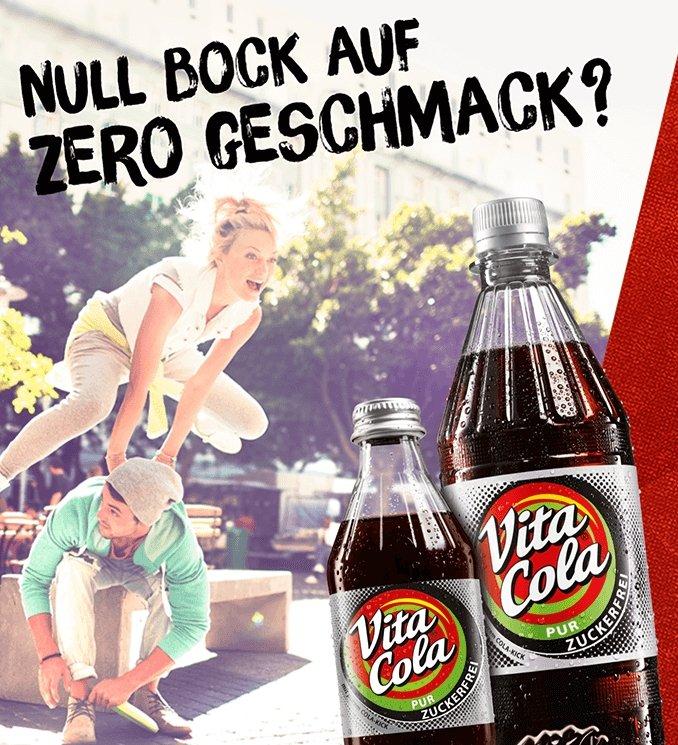 Vita Cola Pur zuckerfrei gratis testen dank Geld-zurück-Garantie (GzG)