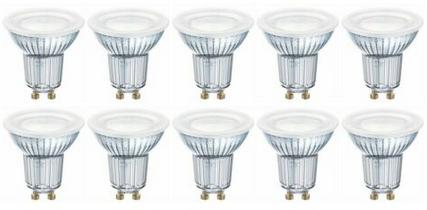10 x Osram LED Base PAR16 Glas GU10 Strahler 4.3W=50W für 18,90€ (statt 26€)
