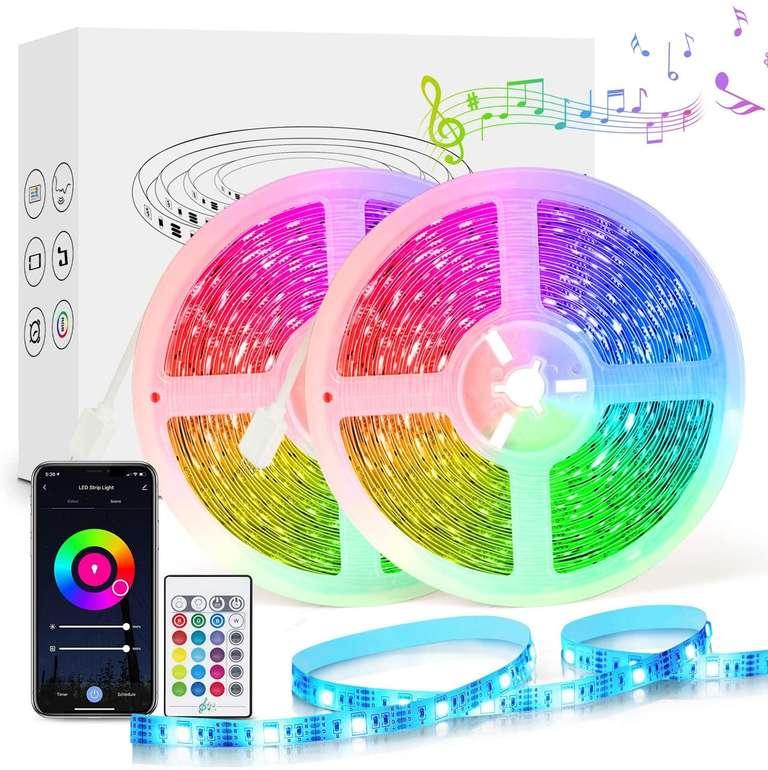 Etersky 10m LED Streifen (Music Sync, Alexa/Google Home kompatibel) für 20,39€ inkl. Versand (statt 34€)