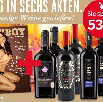 6 Ausgaben Playboy + Italienisches Wein-Paket (6 Flaschen) für 40,60€