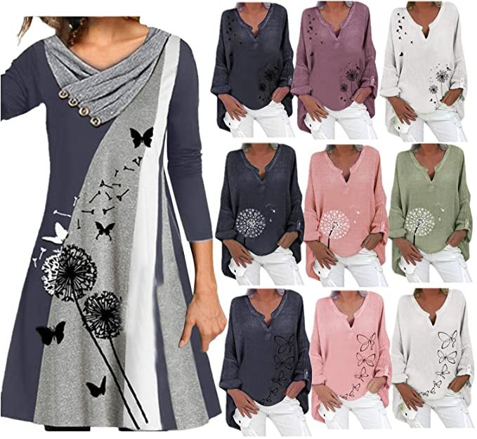 Bicophy Damen Bluse bzw. Kleid mit Schmetterlingen/Pusteblumen ab 9,99€ inkl. Versand (statt 15€)