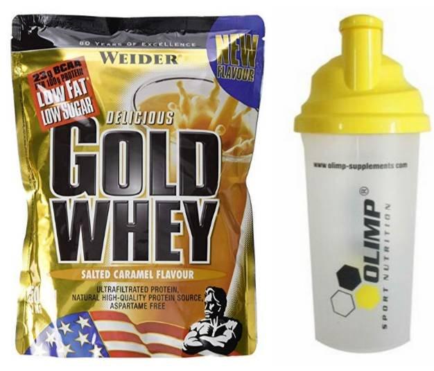 Weider Gold Whey Salted-Caramel 500g (MHD 5/19), Olimp Shaker für 5€ (statt 10€)