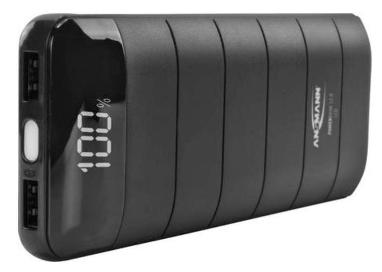 Ansmann PB12.8 LCD Powerbank (2 USB-Ausgänge, LC-Display, 12000 mAh) für 14,98€ inkl. Versand