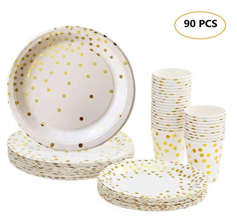 90-tlg. Esonmus Pappgeschirr Set (Pappbecher, Teller & Papierschalen) für 9,04€ mit Prime