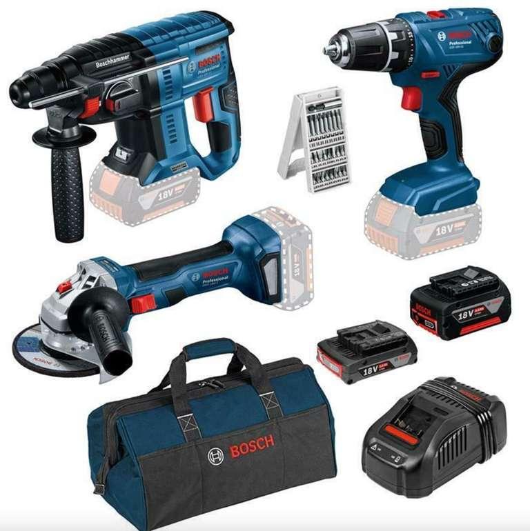 Blaues Bosch Bundle: Bohrschrauber + Bohrhammer + Flex + Tasche, Akkus und Bit-Set für 332,95€ (statt 449€)