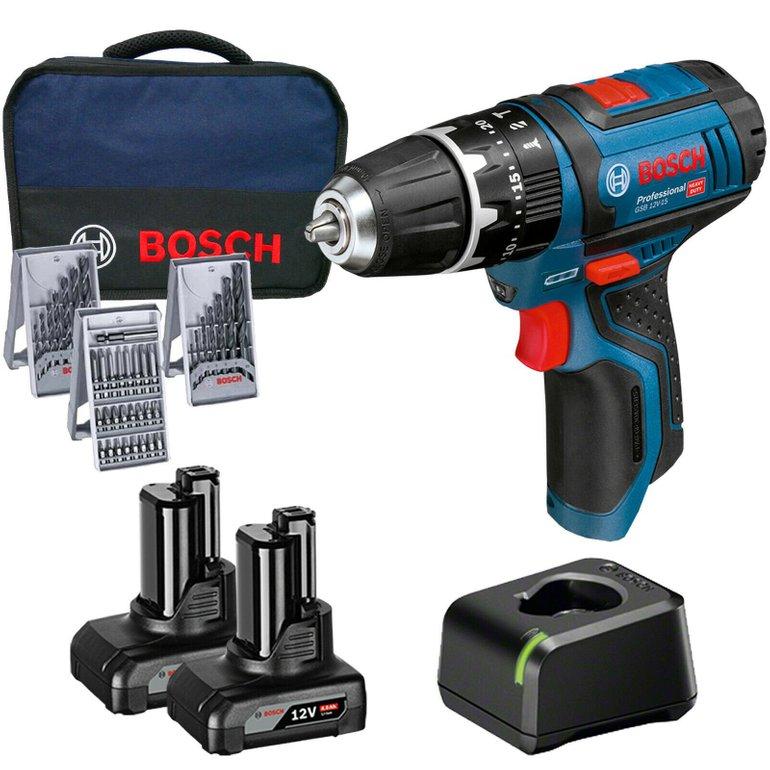 Bosch Akku-Schrauber GSR 12 V-15 (2x 4,0 Ah + Zubehör + Tasche) für 114,95€