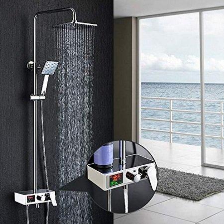 Homelody Duschsystem mit Regendusche, Handbrause & LCD Display für 99,99€