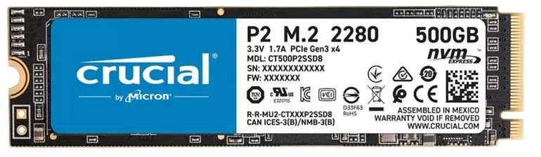 Crucial P2 mit 500 GB SSD Festplatte (M.2) für 42,98€ inkl. Versand (statt 48€)