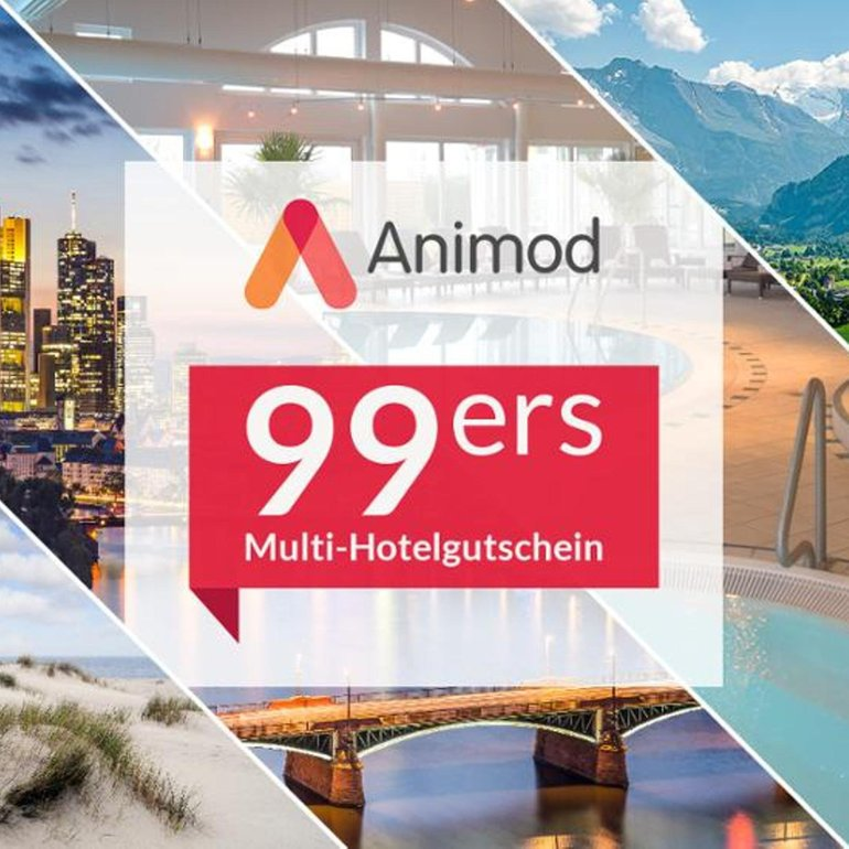 Animod 99ers Multigutschein für über 100 Hotels (2 ÜN, 2 Pers.) 85,48€ Ebay Plus