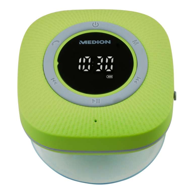 Medion P66096 Duschradio (Bluetooth, IPX6, 30 W, Freisprechfunktion, Integrierter Akku) für 17,99€ (statt 30€)