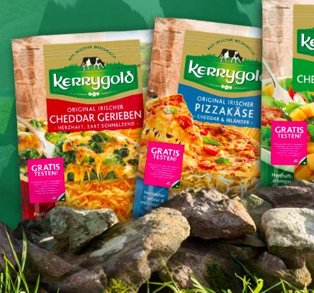 Kerrygold Cheddar gerieben, Pizzakäse oder Cheddar-Würfel gratis testen