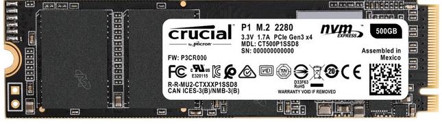 Crucial P1 M.2-NVMe-SSD mit 500GB für 66€ inkl. Versand (statt 77€)