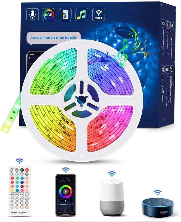 Tasmor 5m RGB LED Streifen (Alexa & Google Home kompatibel, Music Sync, IP65) für 17,33€ inkl. Prime Versand (statt 22€)