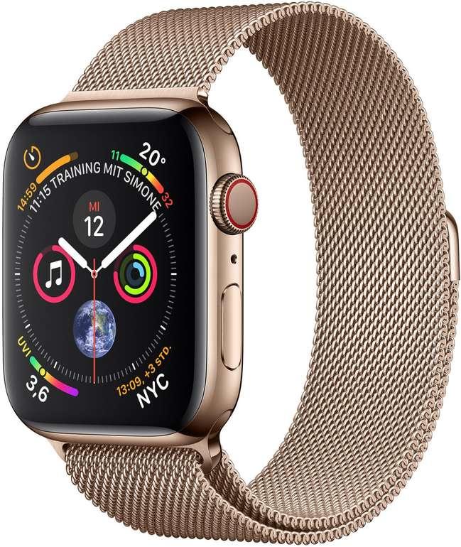 Apple Watch Series 4 LTE 40mm Edelstahlgehäuse Gold mit Milanaise Armband für 503,99€ (statt 719€)
