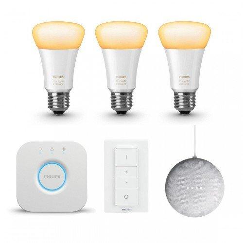 Philips Hue White Ambiance E27 Bluetooth Starter Kit + Google Nest Mini für 109€ (statt 124€)