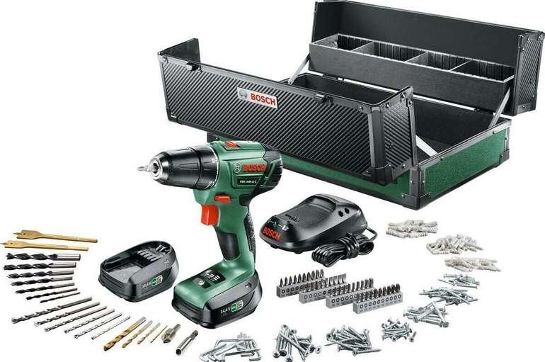 Bosch PSR 1440 LI 2 Akku Bohrschrauber: 2 Akku 1,5Ah, Toolbox, 241 tlg. Zubehör für 88€