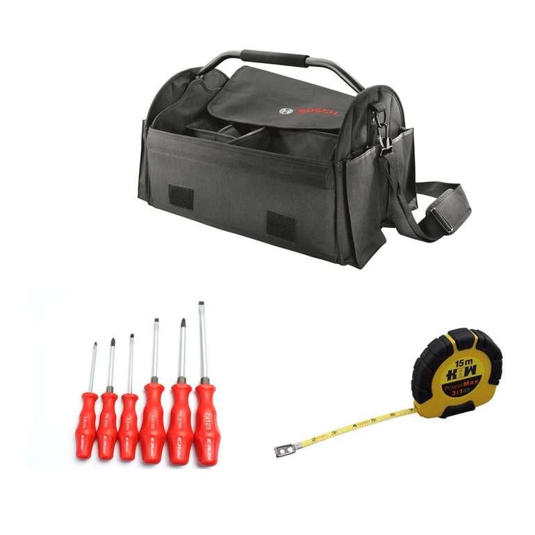 3tlg. Set: Bosch Werkzeugtasche + HHW Schraubenzieher + Kapselrollbandmaß für 22,22€ inkl. Versand (statt 30€)