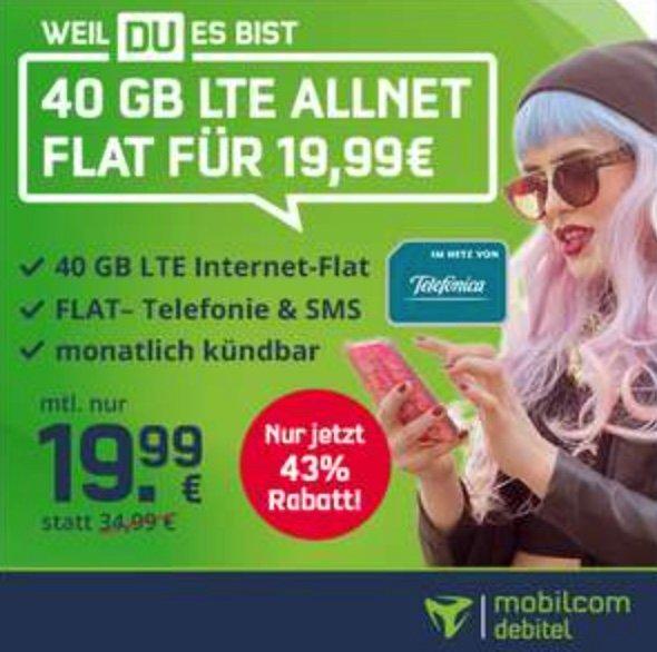 Letzte Chance! Vitrado: Telefonica Allnet und SMS Flat mit 40GB LTE für 19,99€ mtl. - monatlich kündbar!