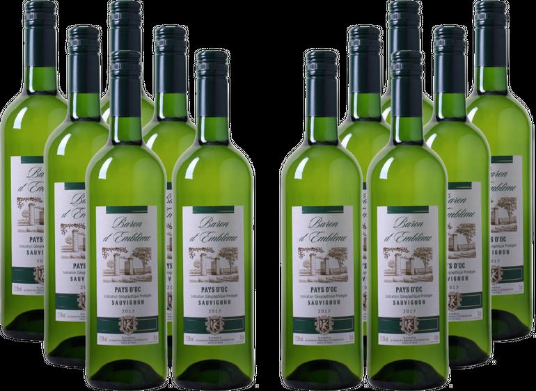 12 Flaschen Baron d'Emblème - Sauvignon Blanc - Pays d'Oc IGP für 45€