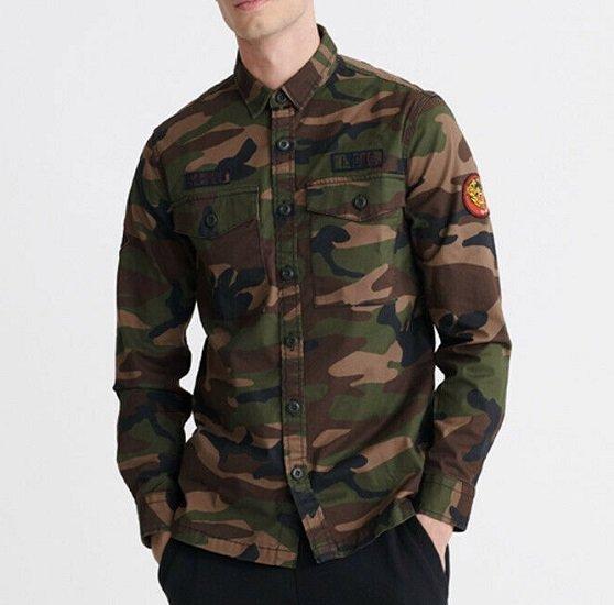 Superdry Herren Core Military Langarmhemd mit Aufnäher für 35,95€ (statt 45€)