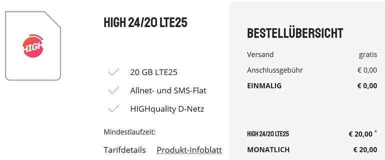 Sparhandy HIGH! Telekom Allnet-Flat mit 20GB LTE