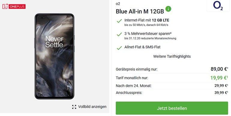 OnePlus 8 NORD o2 Blue All-In M Allnet-Flat 12GB LTE 2
