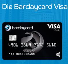 Barclaycard Visa - beitragsfreie Kreditkarte mit 25€ Startguthaben!