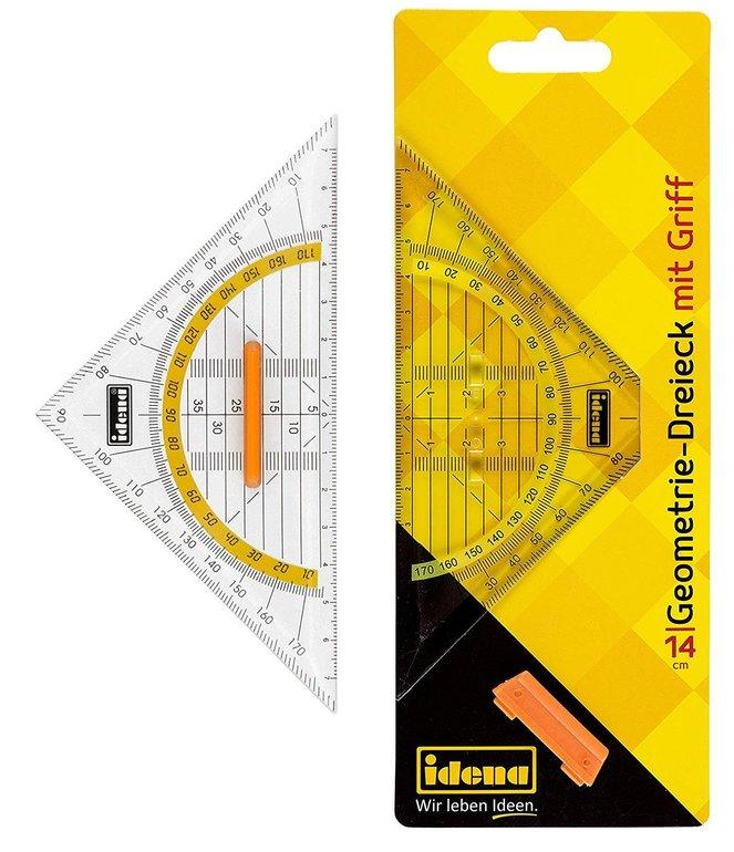 Diverse Büroartikel für 0,99€ mit Primeversand - z.B. Geometriedreieck mit Griff