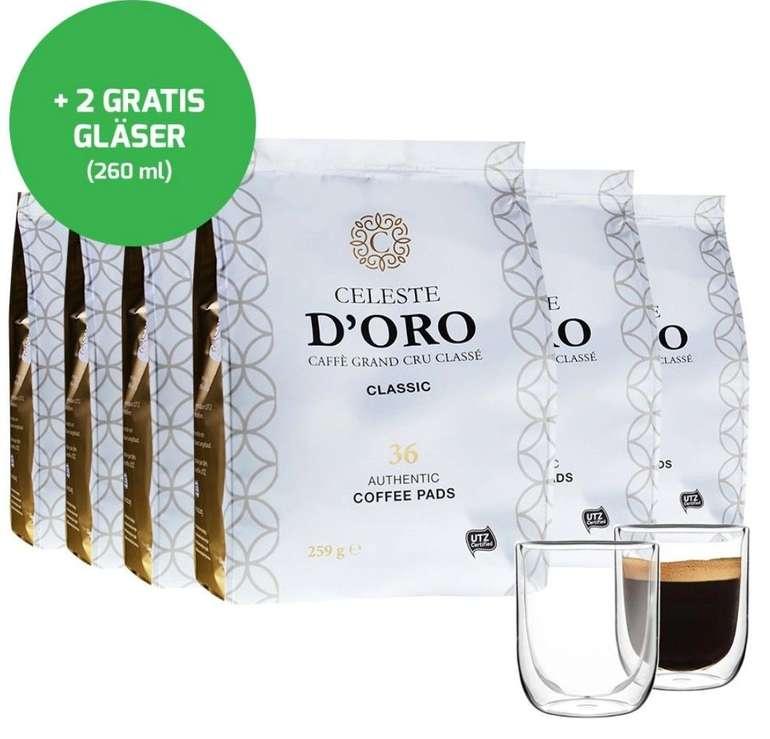 Probierpaket: 216 Celeste d'Oro Senseo Kaffee Pads + 2er Set Doppelwand Gläser für 40,94€ inkl. Versand