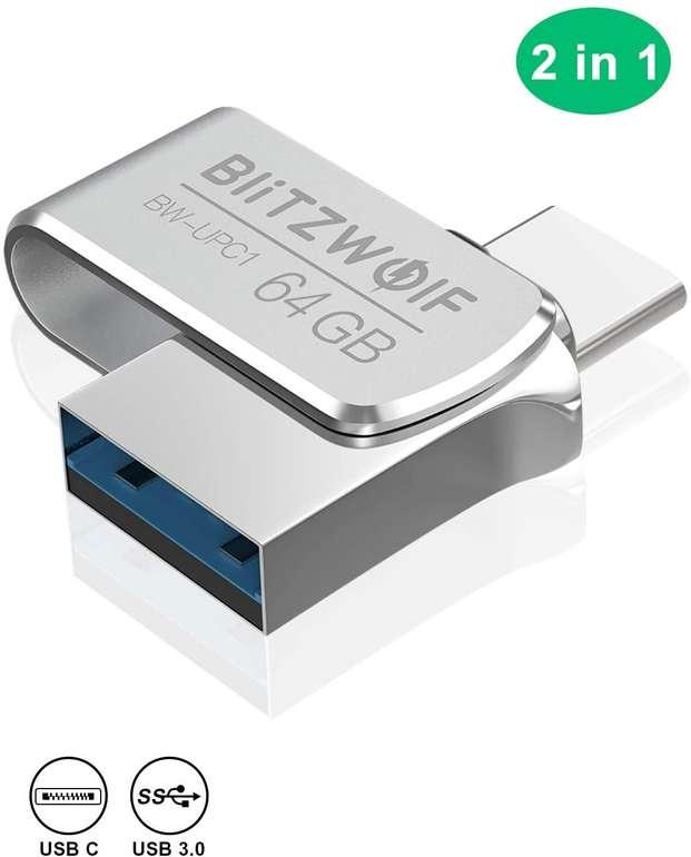 BlitzWolf 64GB USB 3.0 + USB C Stick für 12,59€ inkl. Prime Versand (statt 18€)