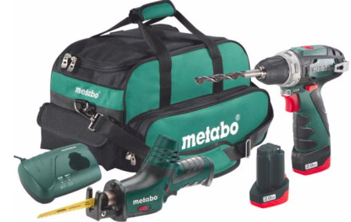 Metabo 10.8V Akku Bohrschrauber BS + ASE Akku Säbelsäge CombiSet in Tasche 111€