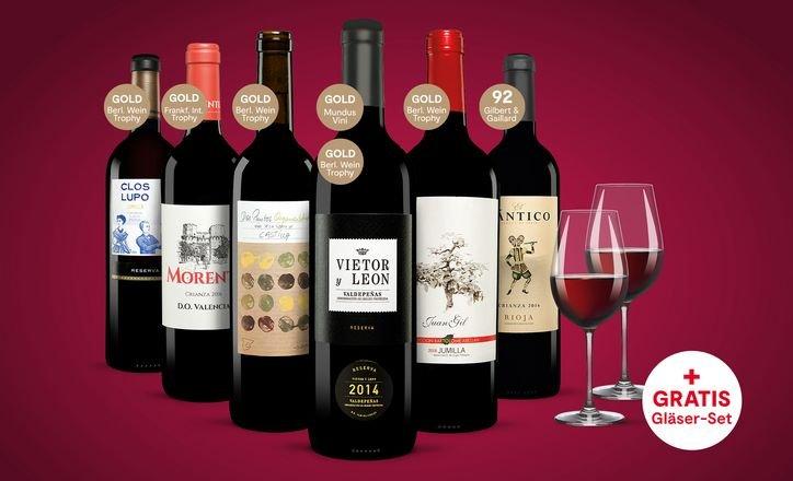 Vinos: 6 Flaschen Rotwein inkl. Schott Zwiesel Ivento 2er-Gläserset für 29,23€