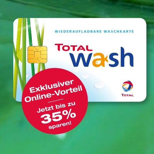 Bis zu 35% Rabatt auf Total Waschkarten - z.B. 100€ Guthaben für 65€