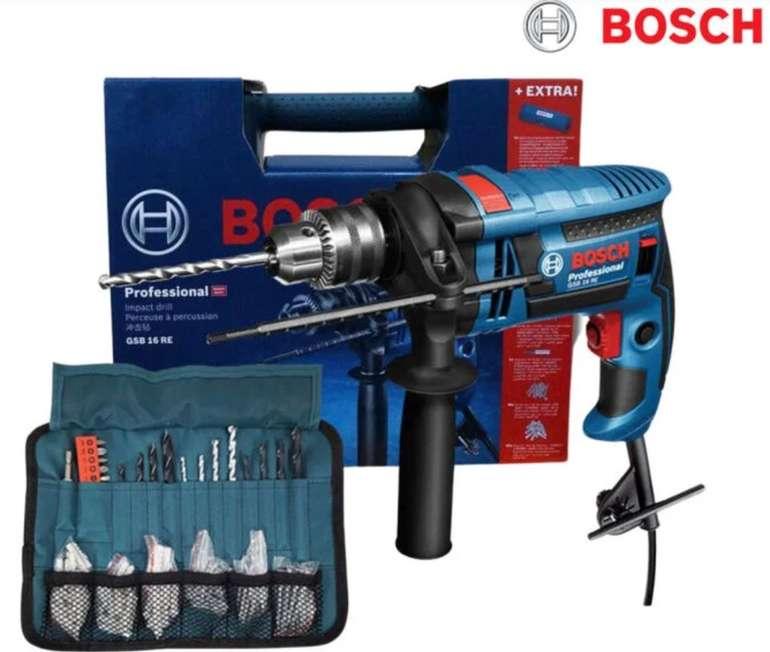 Bosch GSB 16 RE Schlagbohrmaschine mit 750 Watt + Koffer und Zubehör für 85,90€ inkl. Versand (statt 108€)