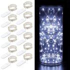 12 Minger Kupferdraht Lichterketten mit 20 kaltweißen LEDs & Batterien für 8,44€