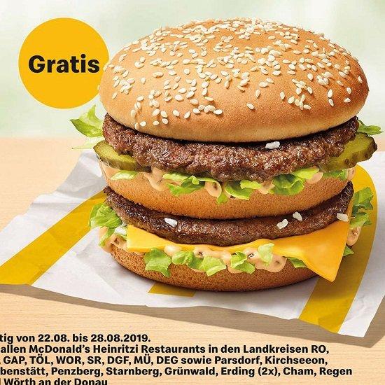 Kostenloser Big Mac in Bayern & Österreich - Bis 28.08.2019