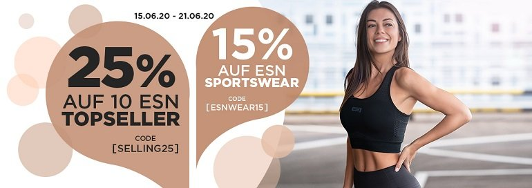 Fitmart Aktion 25% Rabatt auf 10 ESN Topseller