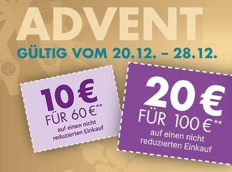 Galeria Adventskalender: Bis zu 40€ Rabatt je nach MBW