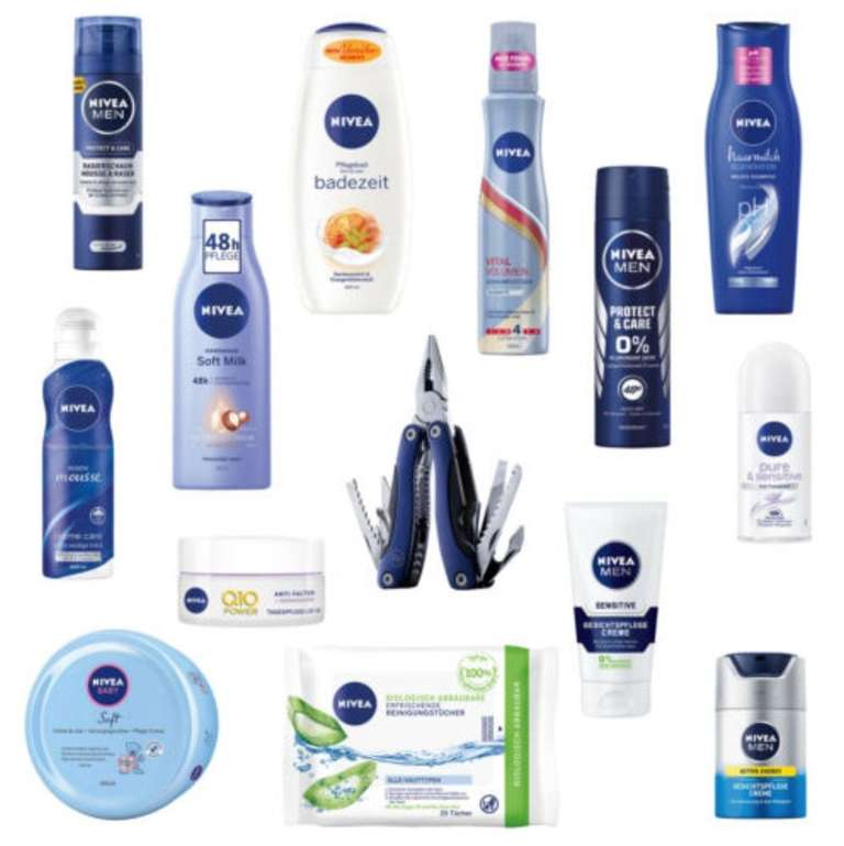 14-tlg. Nivea Vorteilspack Pflege Box mit Produkten für Körper, Hand, Gesicht und Haare nur 24,99€